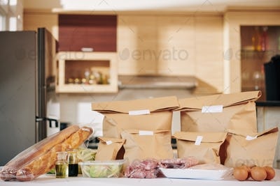 Kitchen counter with delivered food