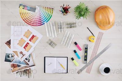 Workspace of interior designer