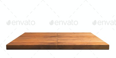 Empty wooden shelf isolated cutout on white wall background. Perspective view. 3d illustration