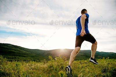 athlete runner run on mountain trail