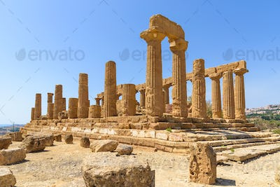 Temple of Juno in the Valley of the Temples in Agrigento