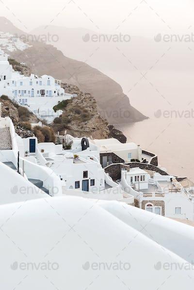 Oia Village On Santorini Island at sunrise, Greece
