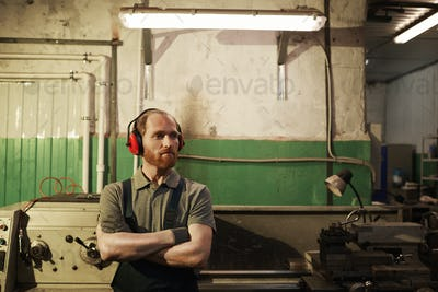 Mechanic in warehouse