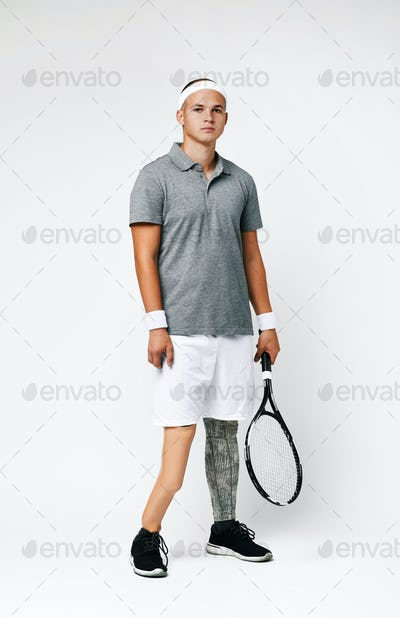 Paralympic sportsman with racket