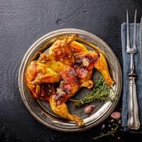 Grilled fried roast Chicken Tabaka