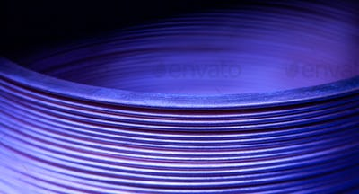 Close-up blue flat steel twisted strip
