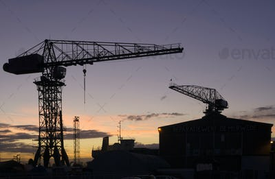 Silhouettes of cranes