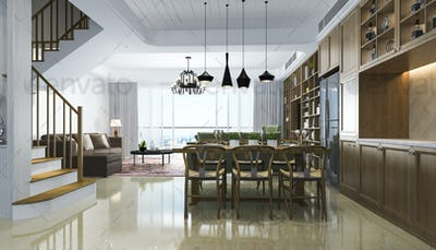 3d rendering modern dining room and chineese living room with luxury decor