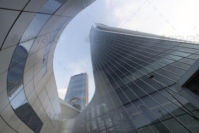 Modern Hadid and Isozaki towers at Citylife, Milan