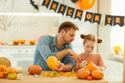 Father and daughter preparing for holiday