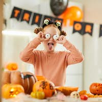 Girl making a spooky face