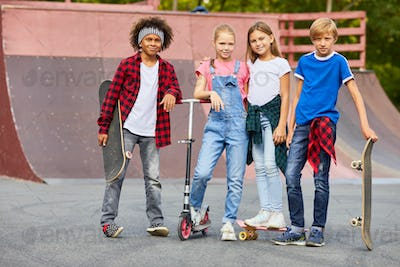 Children in skateboard park