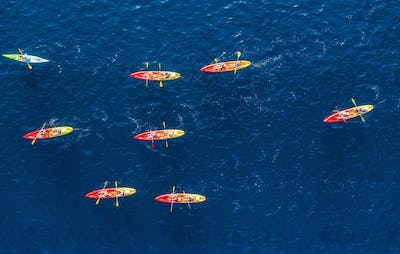 Kayaks and canoes. View from the air