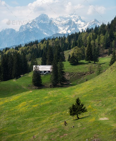 Mountains and the cottage on the meadow