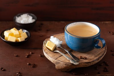 bulletproof coffee, keto paleo drink blended with butter and coconut oil