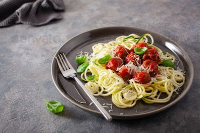 keto paleo diet zoodles spiralized zucchini noodles with meatballs and parmesan