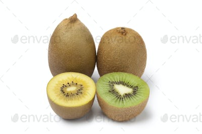 Yellow and green kiwi fruit