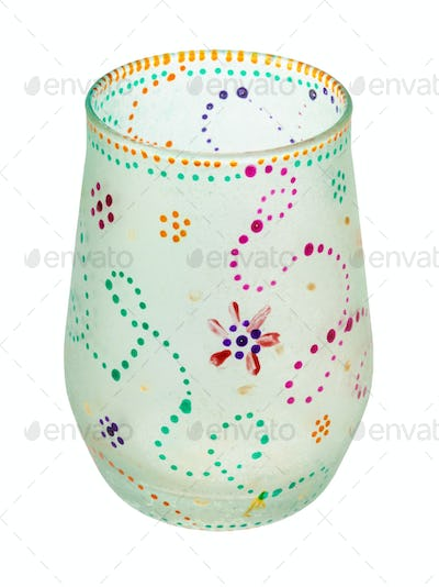 hand painted glass cup isolated on white
