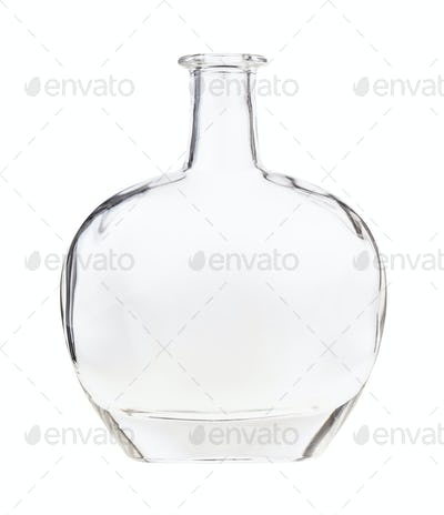 empty clear cognac bottle isolated on white
