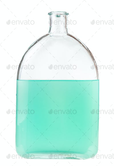 solution of green watercolour in glass flask