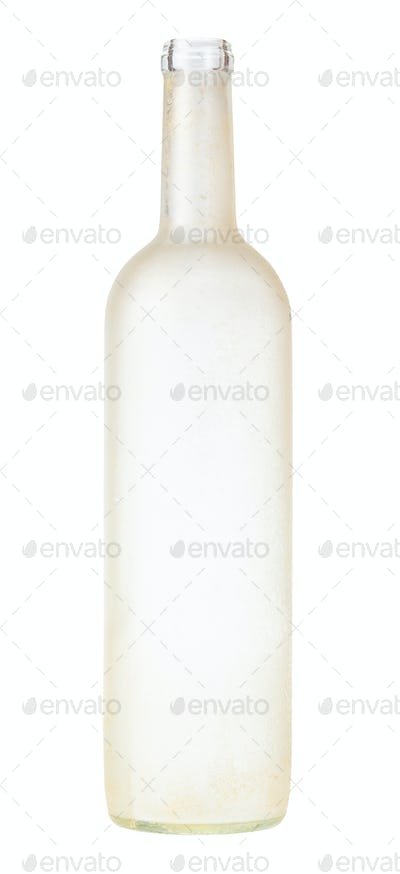 manually frosted glass brandy bottle isolated