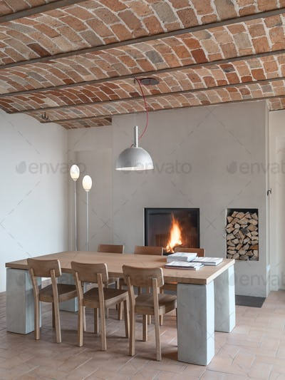 Modern Dining Room with a Fireplace