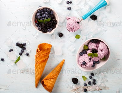 Ice cream of Berries,Blueberries,blackberries with mint in a  waffle cone
