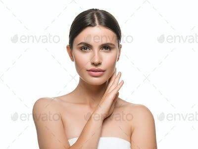 Fresh adorable teen healthy skin concept natural makeup beautiful model girl face