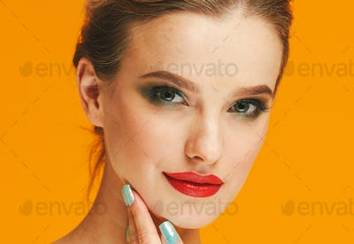 Color makeup woman happy yellow beauty background face female model