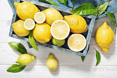Fresh organic lemon fruits