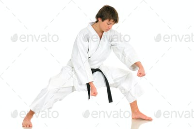Young talented professional karate guy