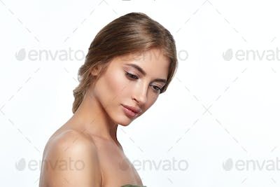 Woman beauty face skin care natural beautiful female portrait