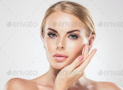 Beauty Woman face Portrait Beautiful Spa model Girl with Perfect Fresh Clean Skin.