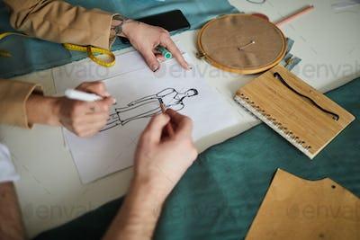Designer drawing sketch