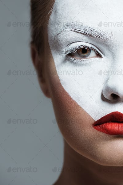 Cropped View of Teen Girl With Creative White Bodyart on Face, Isolated on Grey