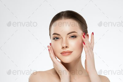 Beauty woman healthy skin concept natural makeup beautiful girl face hands touching manicure nails