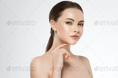 Woman face beauty manicure healthy skin natural makeup beautiful female color background