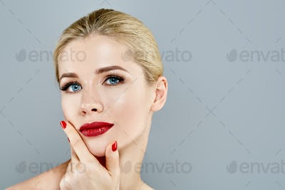 Beautiful Woman Blond face Portrait. Beautiful Spa model Girl with Perfect Fresh Clean Skin.
