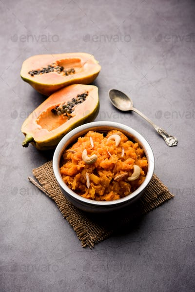 Papaya or Papita sweet Halwa recipe from india, served in a bowl
