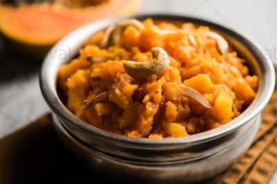 Papaya or Papita sweet Halwa recipe from india, served in a bowl