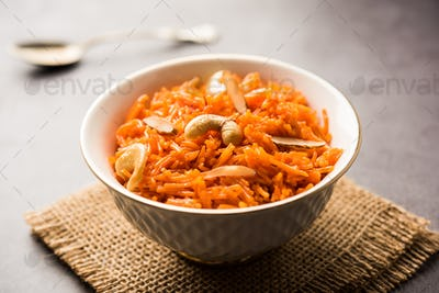 Vermicelli sweet or Semiya Kesari is a popular indian sweet served in a bowl, garnished with dry fru