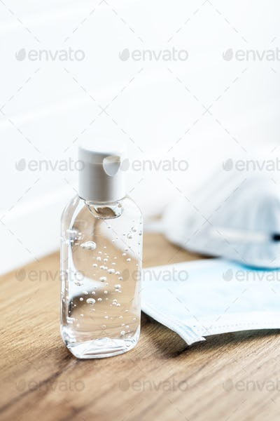 Coronavirus prevention hand sanitizer gel and protection face mask