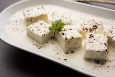 Indian style Cottage cheese black pepper curry in Cream known as Malai Paneer Kali Mirch, Kalimirch