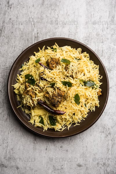 Baamati Rice cooked with chickpea flour fritter called Khaman Gola Bhat is an Indian popular recipe