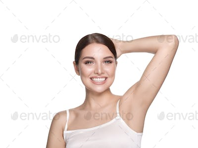 Healthy teeth smile woman portrait hand touching isolated on white natural make up