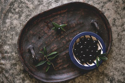 Olives in the plate