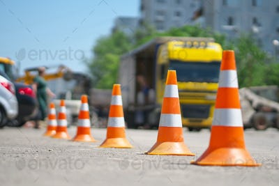 Row of Traffic cone
