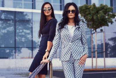 Two business women dressed in a stylish formal clothes, standing outdoors