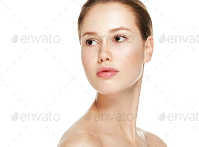 Beautiful face woman natural clean fresh skin young female model face portrait