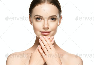 Womanhealthy skin manicure nails beauty cosmetic natural make up portrait